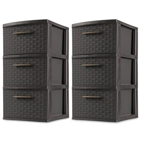 Sterilite 3 Drawer Wicker Weave Decorative Storage Tower, Espresso (2 Pack) - image 1 of 4