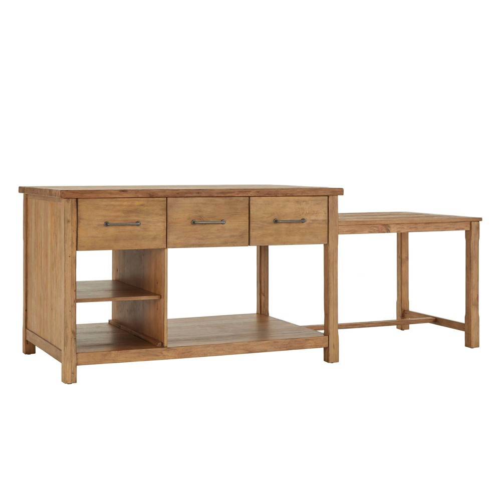 Image of Edgar Reclaimed Wood Extendable Kitchen Island Natural Oak Brown - Inspire Q
