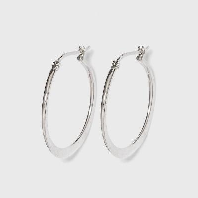 Hoop Earrings Sterling Clutchless Circle  Flat - Silver