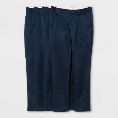 Girls' 4pk Flat Front Stretch Uniform Skinny Pants - Cat & Jack™ Blue