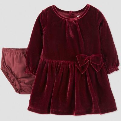 Baby Girls' Velvet Holiday Dressy Dress - Just One You® made by carter's Burgundy Newborn