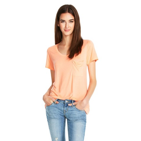 1613b1a2 Women's Crew Neck Micromodal T-Shirt With Pocket - Mossimo™ Peach ...