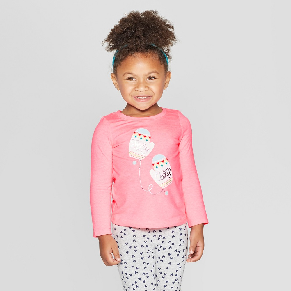 Toddler Girls' Long Sleeve 'Cozy Mittens' Graphic T-Shirt - Cat & Jack Pink 12M