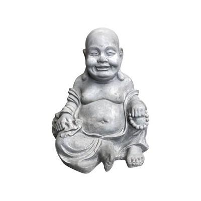 "15.7"" Concrete Lightweight Kante Indoor/Outdoor Sitting Happy Buddha Zen Statue Gray - Rosemead Home & Garden, Inc."