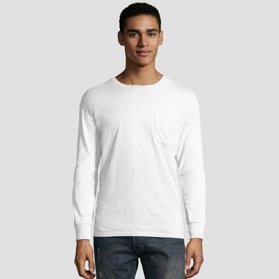 Hanes Men's Long Sleeve 1901 Garment Dyed Pocket T-Shirt
