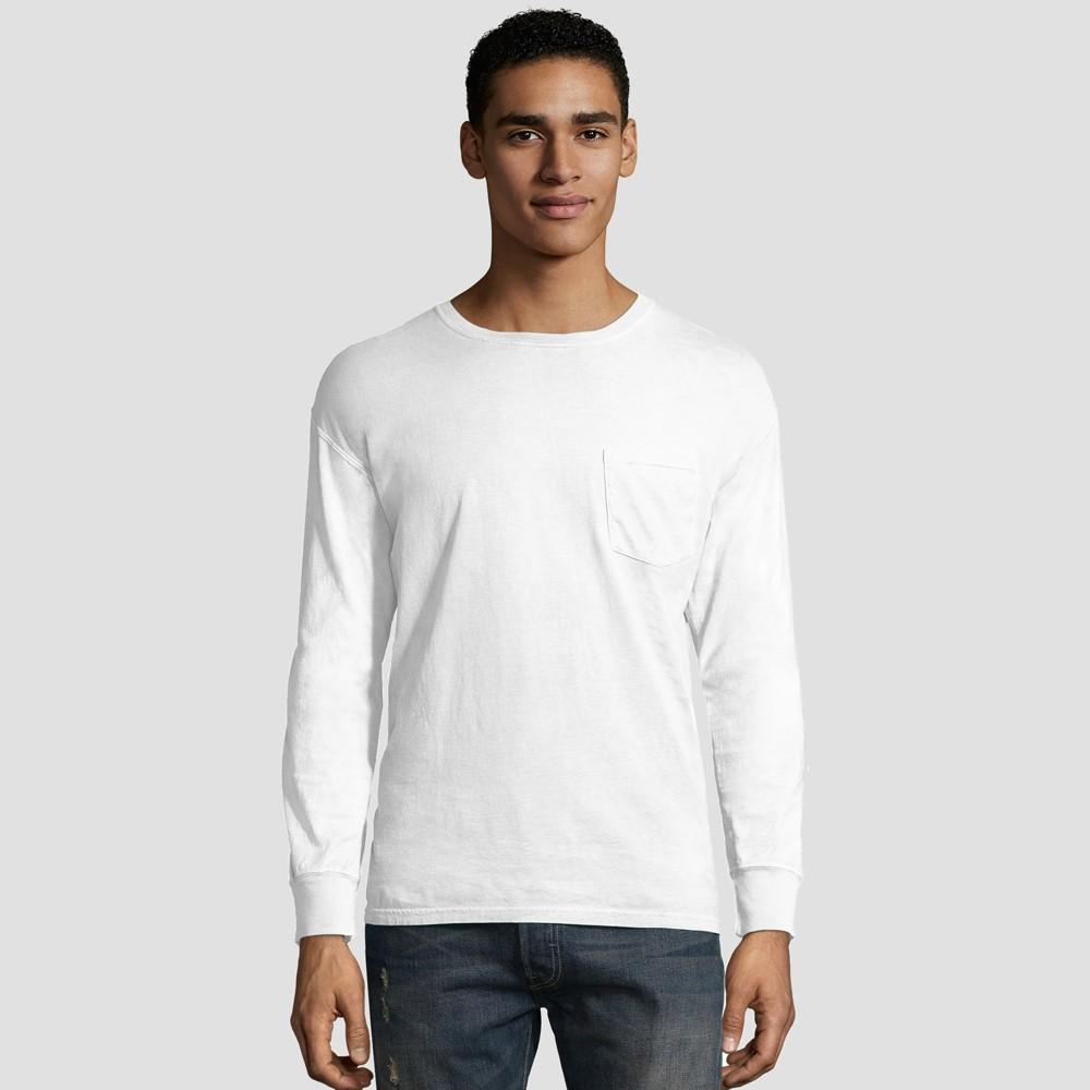 Hanes Men's Long Sleeve 1901 Garment Dyed Pocket T-Shirt - White 2XL