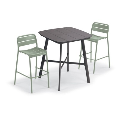 "Eiland 3pc Patio Set with 36"" Square Bar Table & 2 Kapri Bar Chairs - Sage - Oxford Garden"