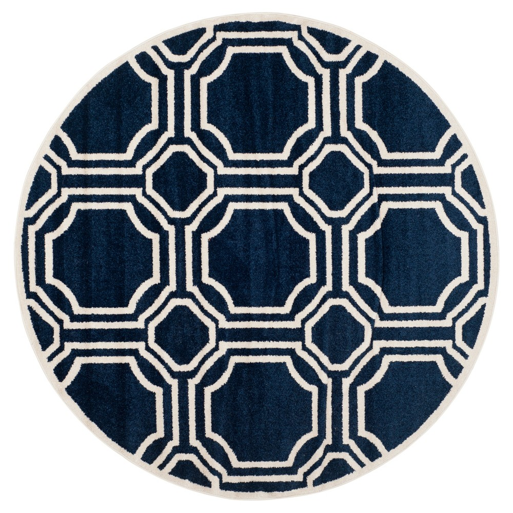 Amala Round 7' Indoor/Outdoor Rug - Navy/Ivory (Blue/Ivory) - Safavieh