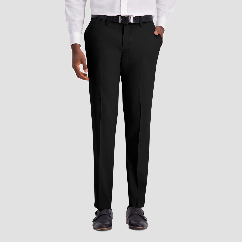 Haggar H26 Men's Slim Fit No Iron Stretch Trousers - Black 38x30