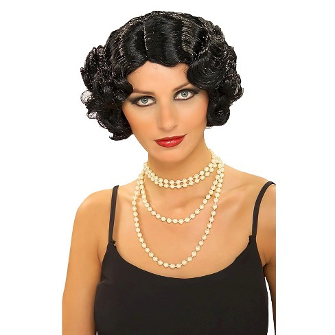 Halloween Women's Flapper Wavy Costume Wig Black - One Size - image 1 of 1