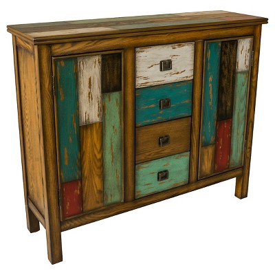 Everest Wood Cabinet Blue/Teal/Yellow - Christopher Knight Home