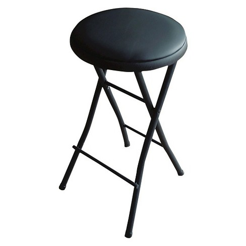 Folding Vinyl Counter Stool Black Plastic Dev Group