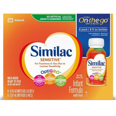 Similac Sensitive For Fussiness and Gas Infant Formula with Iron - 6ct/8 fl oz Each