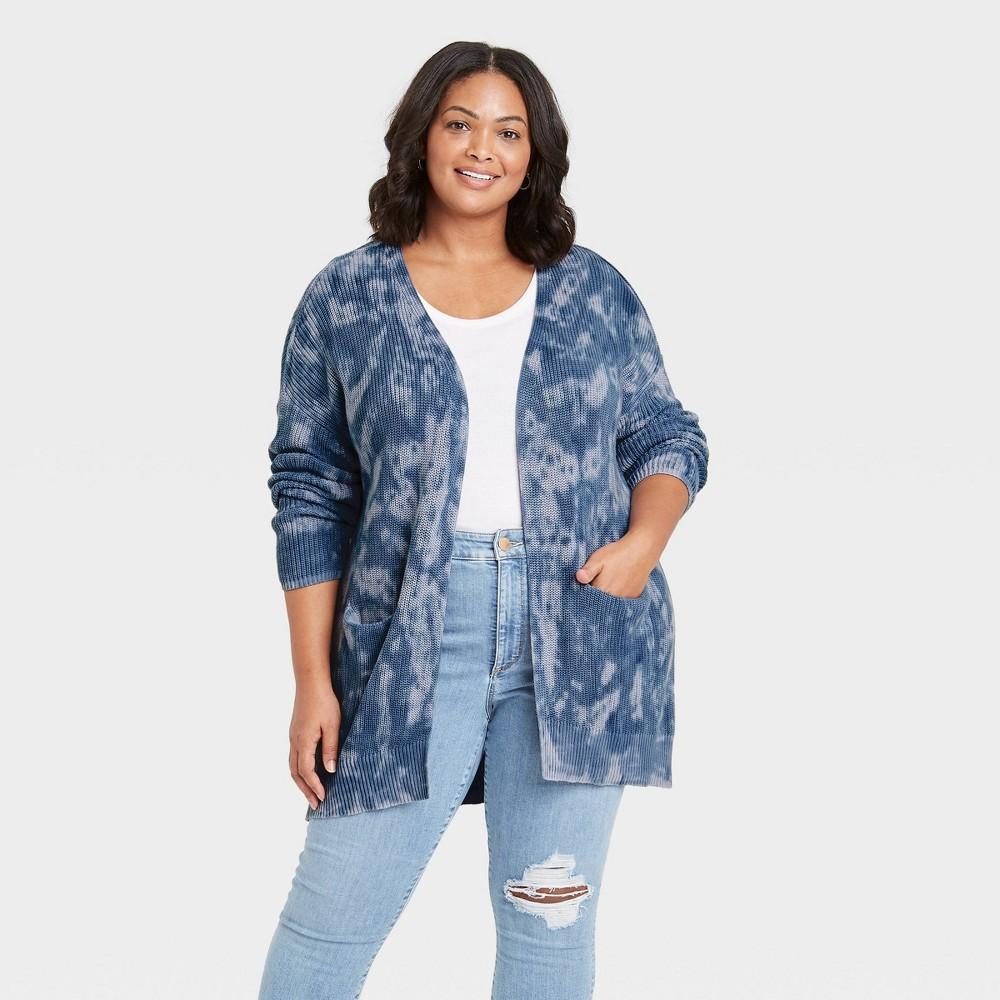 Women 39 S Plus Size Tie Dye Cardigan Universal Thread 8482 Blue 1x