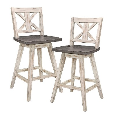 Homelegance Amsonia 24 Inch 360 Swivel Bar Pub Kitchen Counter Height High Dining Chair Stool Set, Distressed White and Gray (2 Pack)