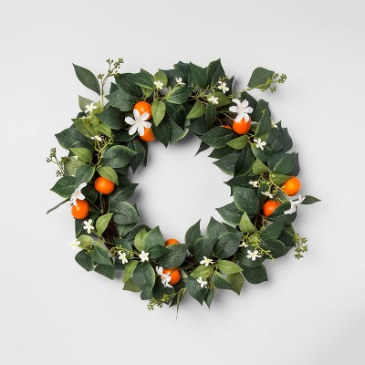 18  Artificial Citrus Wreath Green/Orange - Opalhouse™