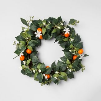 18u0022 Artificial Citrus Wreath Green/Orange - Opalhouse™