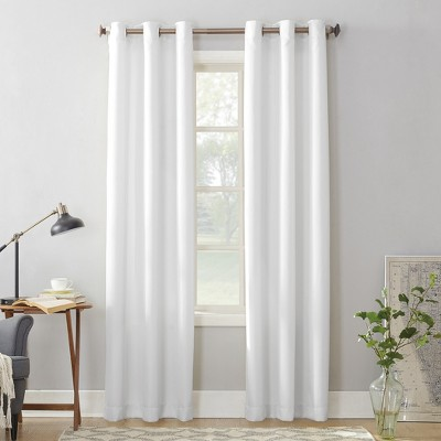 Montego Casual Textured Grommet Curtain Panel White 48 x63  - No. 918