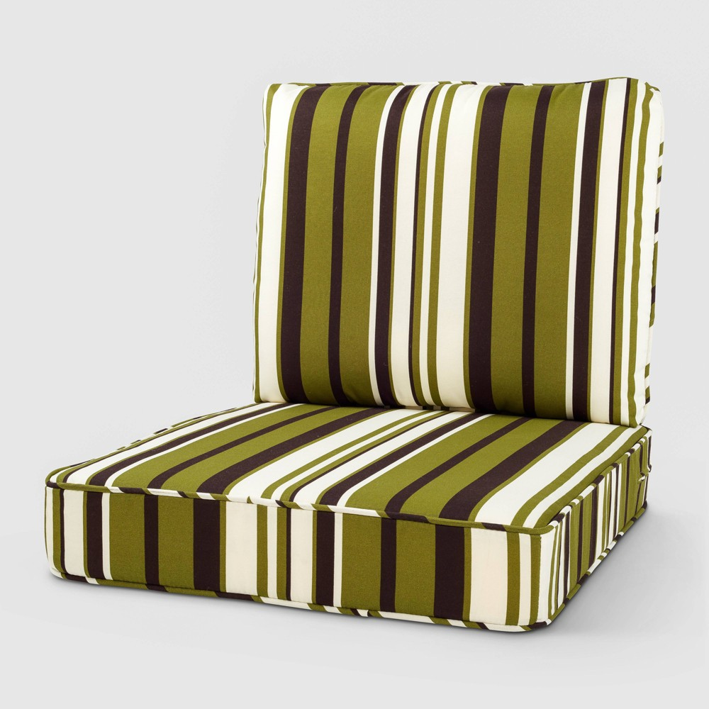 Image of 2pc Rolston Outdoor Seat and Back Replacement Cushions Belmont Green Stripe - Grand Basket
