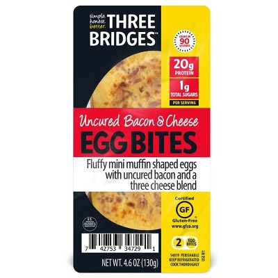 Three Bridges Uncured Bacon & Cheese Egg Bites - 4.6oz