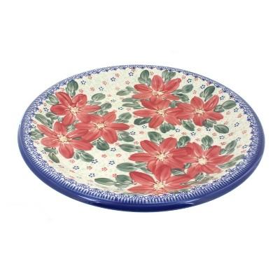 Blue Rose Polish Pottery Poinsettia Dinner Plate