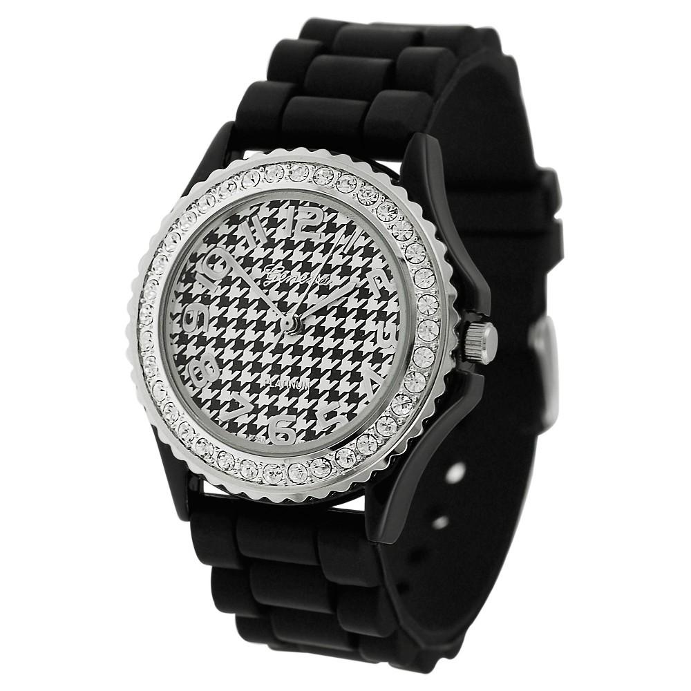 Women's Geneva Platinum Rhinestone Houndstooth Dial Silicone Band Watch - Black