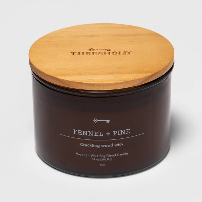 Lidded Amber Glass Jar Crackling Wooden Wick Fennel and Pine Candle - Threshold™