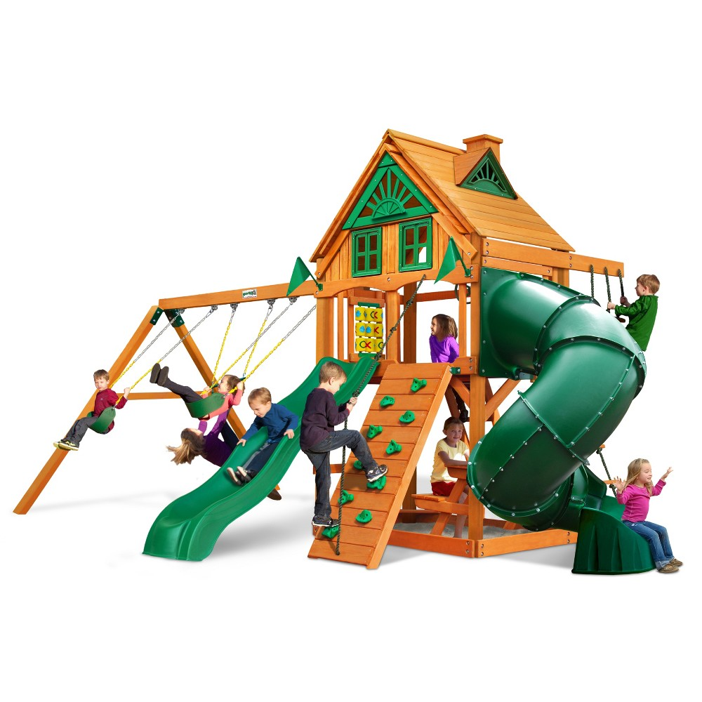 Gorilla Playsets Mountaineer Treehouse Swing Set with Amber Posts, Multi-Colored
