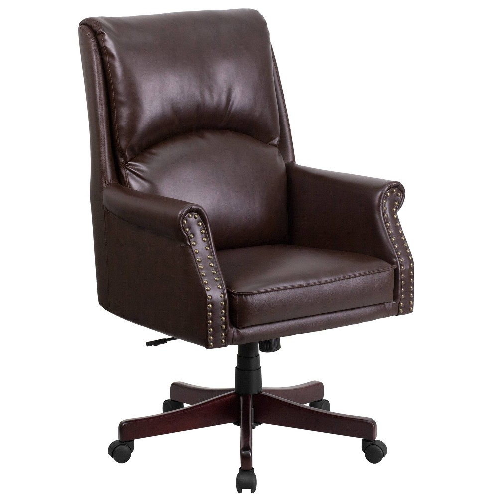Remarkable High Back Pillow Back Brown Leather Executive Swivel Office Pabps2019 Chair Design Images Pabps2019Com