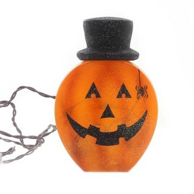 "Stony Creek 7.5"" Lighted Pumpkin With Hat Spider Jack O Lantern  -  Novelty Sculpture Lights"