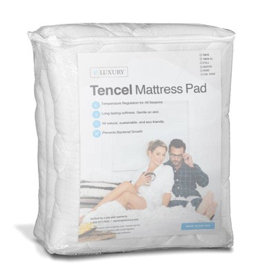 eLuxury Tencel Plush Mattress Pad with Fitted Skirt
