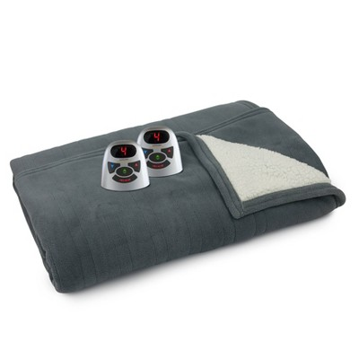 Full/Queen Microplush & Sherpa Electric Bed Blanket Charcoal Gray - Biddeford Blankets