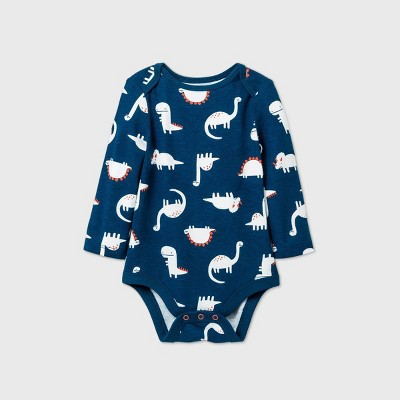 Baby Boys' Dino Long Sleeve Bodysuit - Cat & Jack™ Blue 0-3M