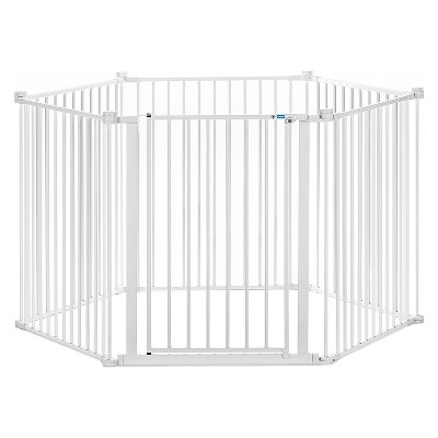 Carlson Pet Products All-Steel 28-Inch Tall Yard and Convertible Super Wide Dog Gate Up to 144-Inches Wide for Small and Medium Dogs, White