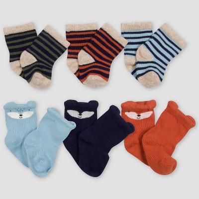 Gerber Baby Boys' 6pk Fox Socks - Orange/Blue