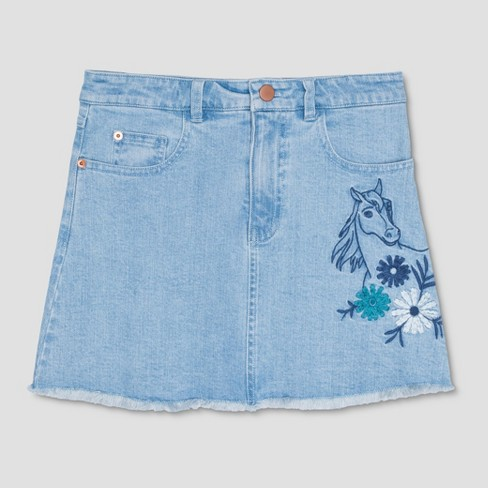 Girls' Spirit Riding Free Bunch Flower Denim Skirt - Blue - image 1 of 2