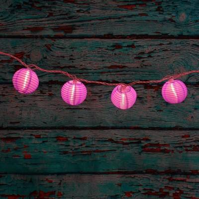 "10ct 3"" Electric String Light with Nylon Lanterns Purple"