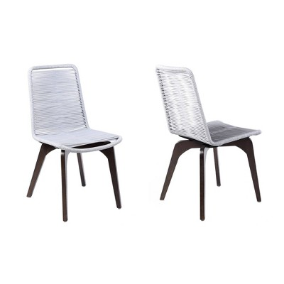 2pk Island Outdoor Eucalyptus Wood and Rope Dining Chairs - Armen Living