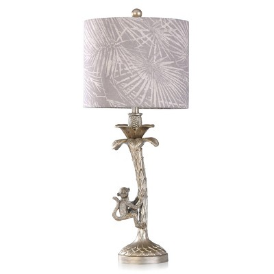 Silver Monkey in Palm Tree Moulded Candlestick Table Lamp with Printed Shade Gray - StyleCraft