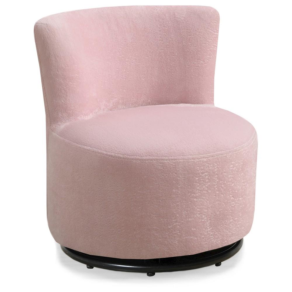 Kid's Swivel Chair - Fuzzy Pink Fabric - EveryRoom