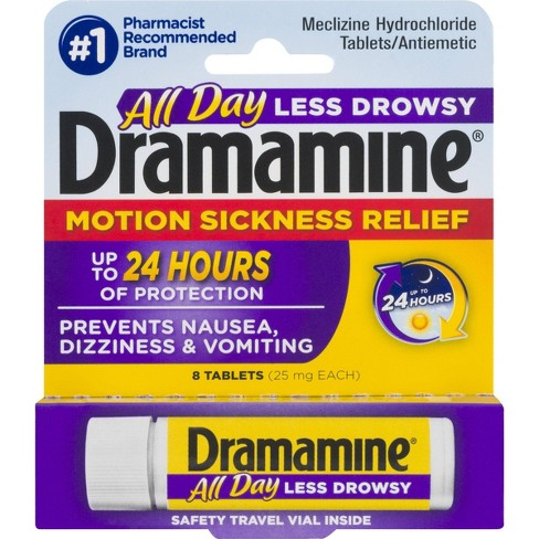 Dramamine Motion Sickness Less Drowsy 24hr Tablets - 8ct - image 1 of 7