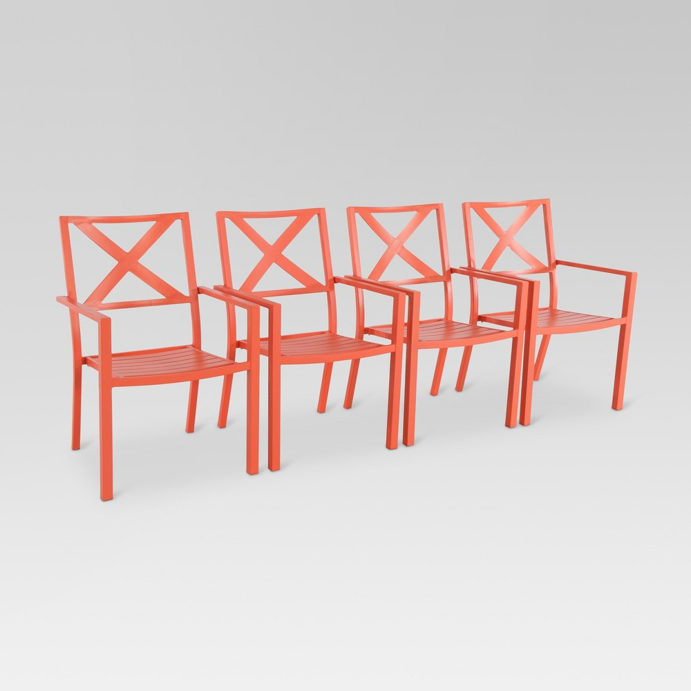 Afton 4pk Metal Stack Patio Dining Chair - Coral (Pink) - Threshold