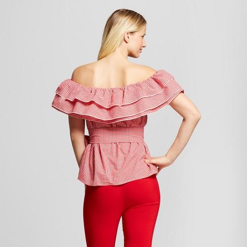 69fbcc7b3b4f0d Women s Gingham Seersucker Ruffle Bardot Top - Who What Wear™ Red XL    Target