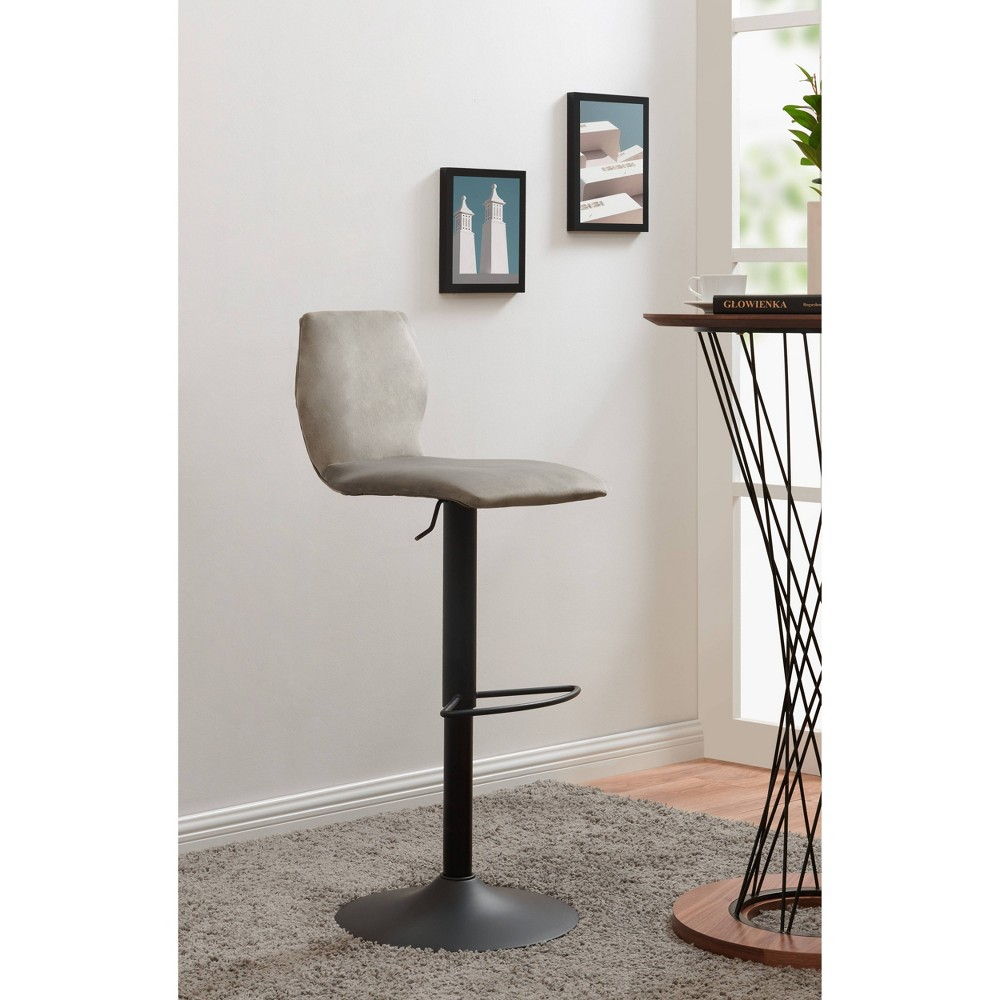 Image of Adjustable Velvet Stool Ash Gray - Acessentials, Black Gray