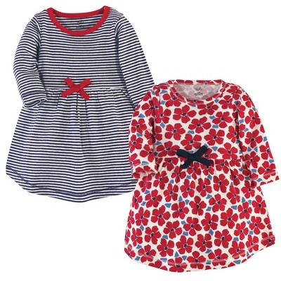 Touched by Nature Baby and Toddler Girl Organic Cotton Long-Sleeve Dresses 2pk, Red Flowers