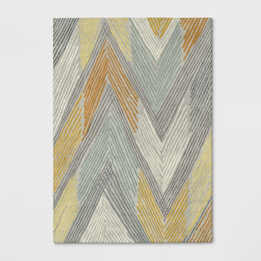 7'X10' Chevron Wool Abstract Tufted Area Rug Gray/Yellow - Project 62 was $349.99 now $174.99 (50.0% off)