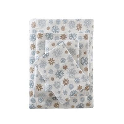 Flannel Print Sheet Set (Queen)Tan/Blue Snowflakes