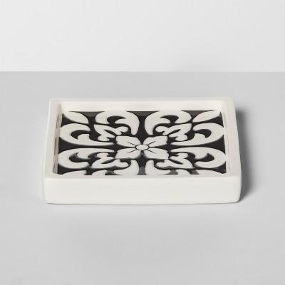 Mallorca Ceramic With Faux Mosaic Look Soap Dish White - Opalhouse™