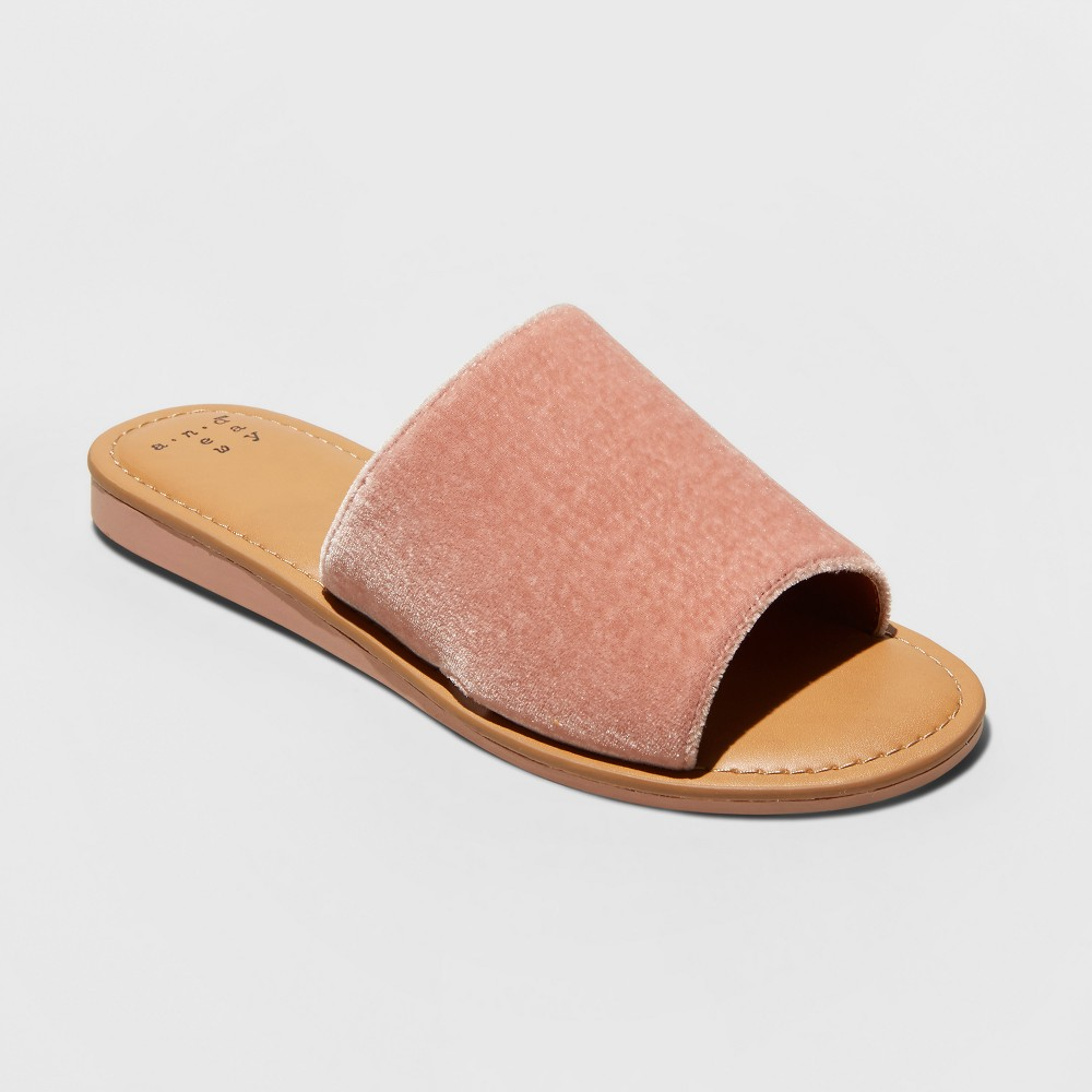 Women's Dorathea Velvet Slide Sandals - A New Day Blush 11
