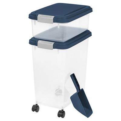 IRIS 3pc Airtight Pet Food Storage Set, Navy